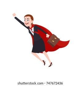 Business Woman Character In Superhero Costume. Cartoon Style Vector Illustration
