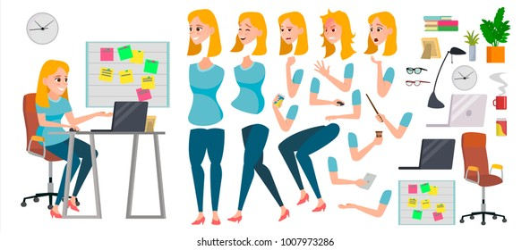 Business Woman Character Vector. Working Female Girl Boss. Start Up. Office. Girl Developer. Animation Set. Attractive Lady Programmer, Designer, Sales Person. Emotions. Cartoon Illustration