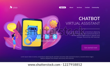 Business Woman Chatting Messages Chatbot Application Stock Vector