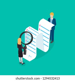 Business woman is checking or analyzing financial data. Accounting analysis,  contract study. Isometric vector illustration
