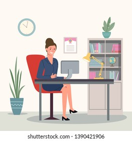 Business woman or a clerk working at her office desk. Vector flat style illustration