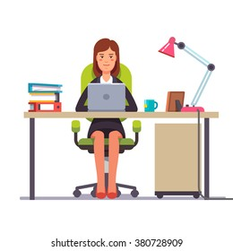 Business woman or a clerk working at her office desk. Flat style modern vector illustration.