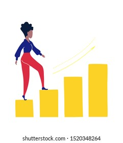 Business woman climbing the career ladder. She purposefully goes to her goal.