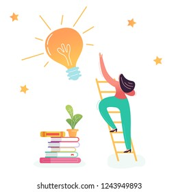 Business Woman Climbing on Ladder to the Big Light Bulb. Creative Idea, Business Innovation, Imagination, Career Growth Concept. Vector illustration