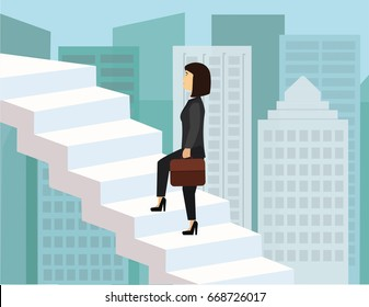 Business woman climbing the stairs in the sky. Ladder of success and career growth ambitions conceptual illustration vector.