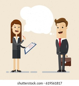 Business woman is conducting a survey. Businessman answers questions of interview. Concept of survey, questionnaire. Vector, illustration, flat
