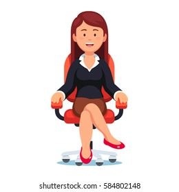 Business woman confidently sitting in office chair with smiling face and looking at viewer. Female executive manager or CEO. Modern flat style vector illustration isolated on white background.