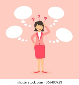A business woman confuse to decide what is better choice from her mind in bubble speech in pink background.