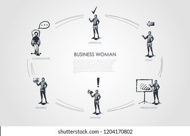 Business woman - consultation, trainig, manage, presentation, point, approval vector concept set. Hand drawn sketch isolated illustratiion