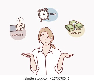 Business woman contemplating over conflicting interrelated values triangle. Time, money cost or quality question concept.Hand drawn style vector design illustration.