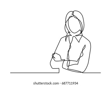Business woman with crossed arms - single line drawing.  Vector illustration