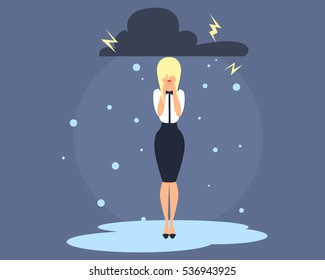 Business Woman in depression. Flat design. Vector illustration