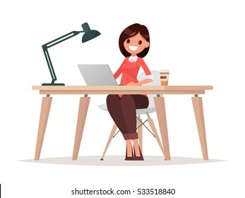 Business woman at the desk is working on the laptop computer. Vector illustration in  flat style