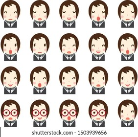 Business woman with different facial expressions, hair and clothes set in vector flat avatars