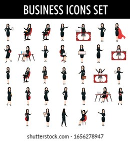 Business Woman in Different Poses with Expression and Activity.