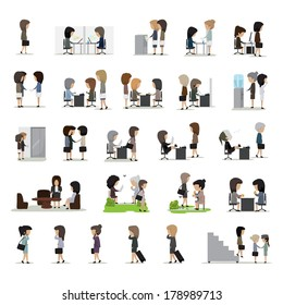 Business Woman In Different Situation Set - Isolated On White Background - Vector Illustration, Graphic Design Editable For Your Design. People On Break In Park