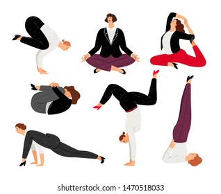Business woman do yoga pose, relax and meditation. Vector businesswoman yoga fitness, people confident and training illustration
