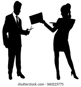 business woman with document and businessman with scissors