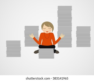 Business woman doing exercises during a break. Vector.