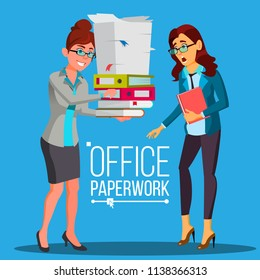 Business Woman Doing Paperwork Vector. Office Worker. Very Busy Day. To Excessive Work. Accounting Bureaucracy. Disorganized Manager. Flat Cartoon Illustration