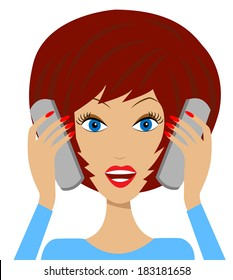 business  woman emotionally speak on two telephone, vector illustration