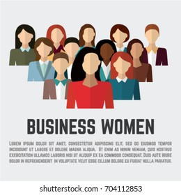Business woman. Female employee group. flat style vector icons set