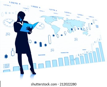Business woman with financial charts (EPS10 vector)