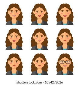 Business woman flat avatars set with different facial expressions. Bussines people's emotional faces icons collection. Vector illustration.