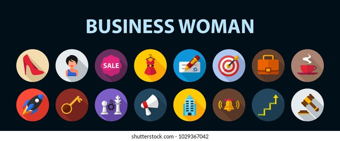 Business woman flat icon concept. Vector illustration. Element template for design.