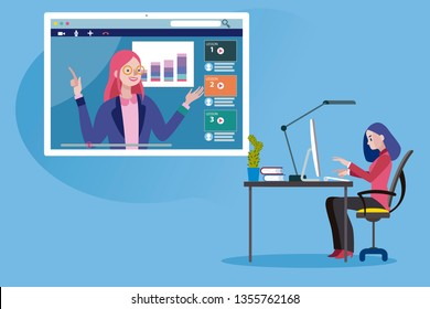 Business woman following an online education and e-learning course through his laptop computer with a online professional teacher. Flat design illustration.