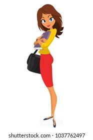 Business woman girl character with folder for papers and handbag posing. Vector illustration of woman in red dress and yellow shirt.