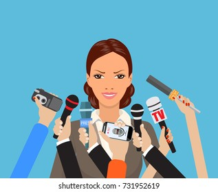 Business woman giving an interview in the presence of journalists with microphones. vector illustration in flat style