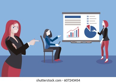 Business woman giving a presentation. Business Conference concept.