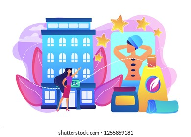 Business woman giving rating stars to hotel with spa and bodywork. Wellness and spa hotel, enjoyable lifestyle, massage and bodywork service concept. Bright vibrant violet vector isolated illustration