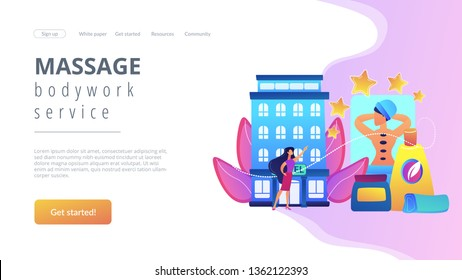 Business woman giving rating stars to hotel with spa and bodywork. Wellness and spa hotel, enjoyable lifestyle, massage and bodywork service concept. Website vibrant violet landing web page template.