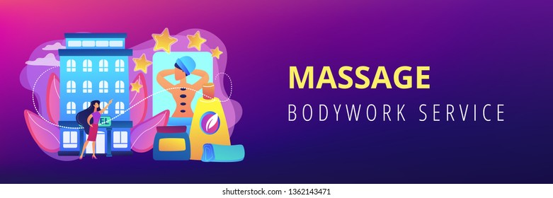 Business woman giving rating stars to hotel with spa and bodywork. Wellness and spa hotel, enjoyable lifestyle, massage and bodywork service concept. Header or footer banner template with copy space.
