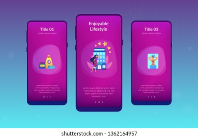Business woman giving rating stars to hotel with spa and bodywork. Wellness and spa hotel, enjoyable lifestyle, massage and bodywork service concept. Mobile UI UX GUI template, app interface wireframe