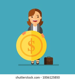 Business woman with a gold coin