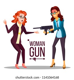 Business Woman With Gun Vector. Bankruptcy Concept. Pointing, Aiming. Isolated Flat Illustration