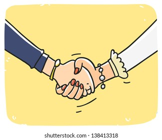 Business woman handshake. Cartoon illustration isolated on background