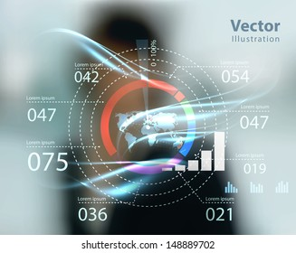 business woman and high tech type of modern buttons on a virtual background