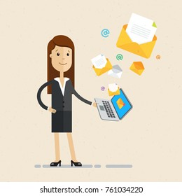 Business woman hold a laptop with email letters. Vector, illustration, flat