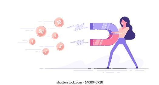 Business woman holding a big magnet and attracting money. Investment attraction concept. Modern vector illustration.