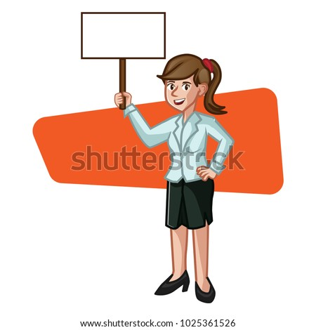 business woman holding blank sign template stock vector royalty