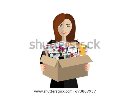 75680bc12a610 Business woman holding in a cardboard box office accessories isolated on a  white background. There