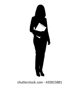 Business woman holding clipboard, vector illustration of black full length silhouette