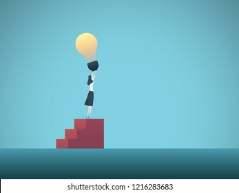 Business woman holding lightbulb above head as symbol of heureka moment vector concept. Symbol of creativity, innovation, leadership, breakthrough. Eps10 vector illustration.