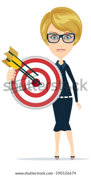 Arrow Vision Center >> Business Woman Holding Marketing Target Arrow Stock Vector