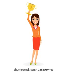 Business woman holding up a trophy cup. Women professional leadership and triumph concept. Flat vector cartoon character of successful young girl holding gold reward isolated on white background