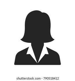 Business woman icon, avatar symbol. Female pictogram, flat vector sign isolated on white background. Simple vector illustration for graphic and web design.